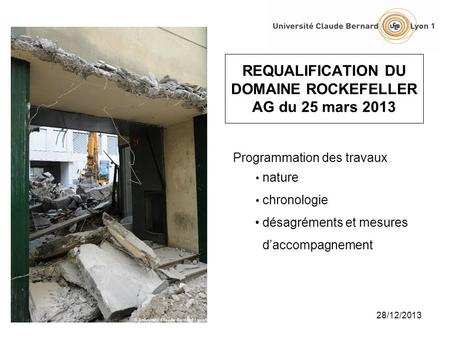 REQUALIFICATION DU DOMAINE ROCKEFELLER AG du 25 mars 2013