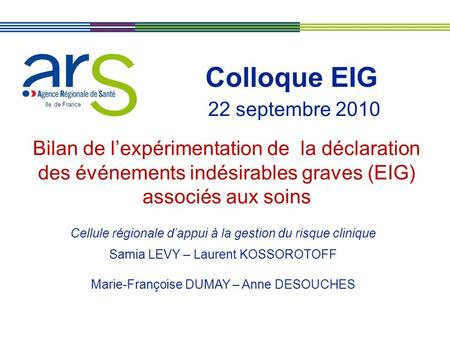 Colloque EIG 22 septembre 2010