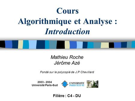 Cours Algorithmique et Analyse : Introduction