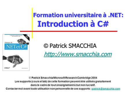 Formation universitaire à .NET: Introduction à C#