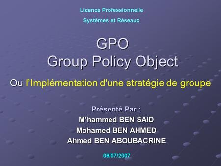 GPO Group Policy Object