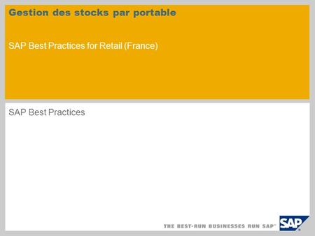 Gestion des stocks par portable SAP Best Practices for Retail (France)