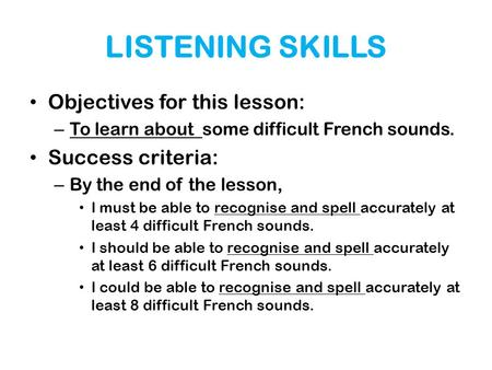 LISTENING SKILLS Objectives for this lesson: Success criteria: