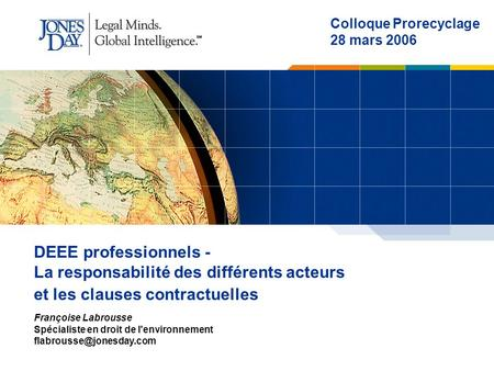Colloque Prorecyclage 28 mars 2006