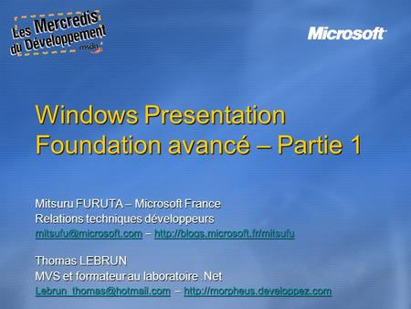 Windows Presentation Foundation avancé – Partie 1