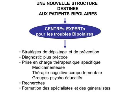 UNE NOUVELLE STRUCTURE DESTINEE AUX PATIENTS BIPOLAIRES