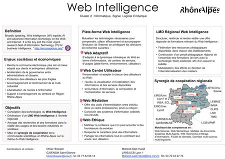 Web Intelligence Plate-forme Web Intelligence