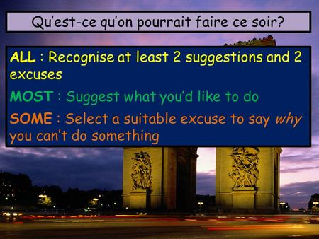 Quest-ce quon pourrait faire ce soir? ALL : Recognise at least 2 suggestions and 2 excuses MOST : Suggest what youd like to do SOME : Select a suitable.