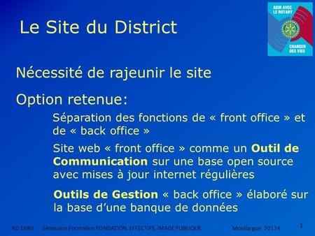 Le Site du District Nécessité de rajeunir le site Option retenue: