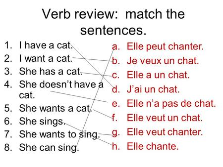 Verb review: match the sentences. 1.I have a cat. 2.I want a cat. 3.She has a cat. 4.She doesnt have a cat. 5.She wants a cat. 6.She sings. 7.She wants.