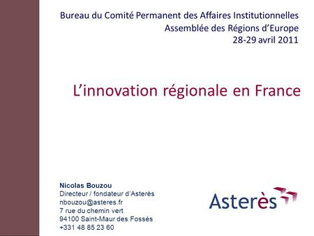 L'innovation régionale en France