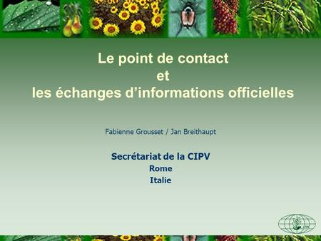 Le point de contact et les échanges dinformations officielles Fabienne Grousset / Jan Breithaupt Secrétariat de la CIPV Rome Italie.