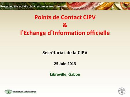 Points de Contact CIPV & lEchange dInformation officielle Secrétariat de la CIPV 25 Juin 2013 Libreville, Gabon.
