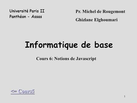 Cours 6: Notions de Javascript