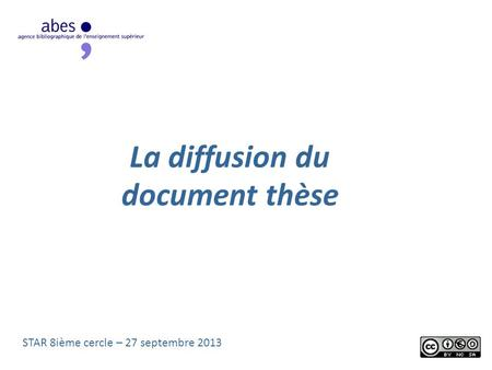 La diffusion du document thèse