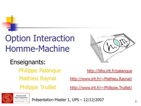 Option Interaction Homme-Machine