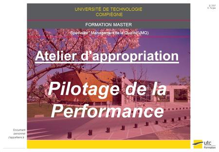 Atelier d'appropriation Pilotage de la Performance