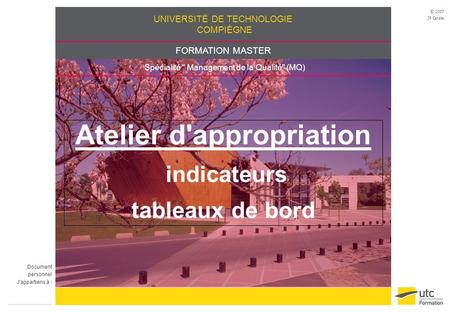 Atelier d'appropriation indicateurs tableaux de bord
