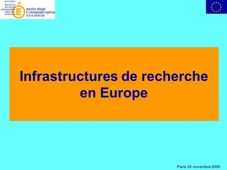 Paris 30 novembre 2005 Infrastructures de recherche en Europe.