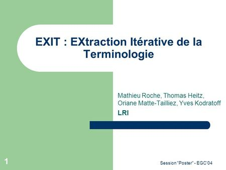 EXIT : EXtraction Itérative de la Terminologie