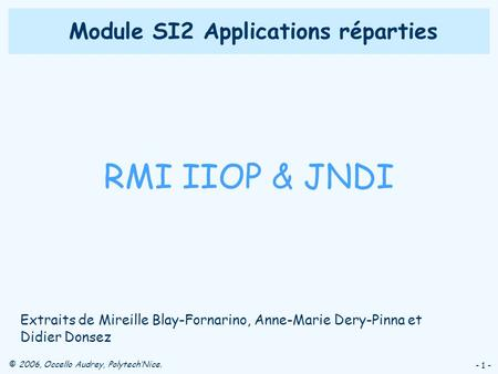 Module SI2 Applications réparties