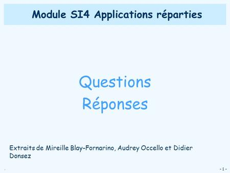 Module SI4 Applications réparties