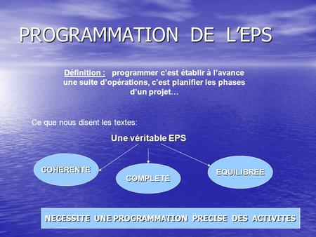 PROGRAMMATION DE L'EPS