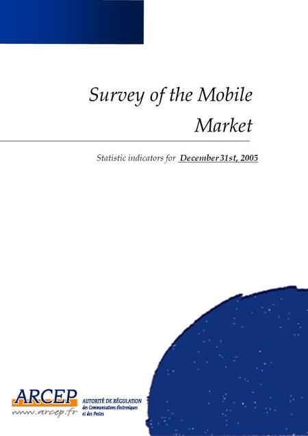 Survey of the Mobile Market Statistic indicators for December 31st, 2005.