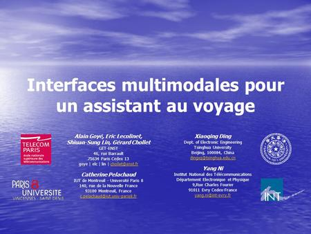 Interfaces multimodales pour un assistant au voyage