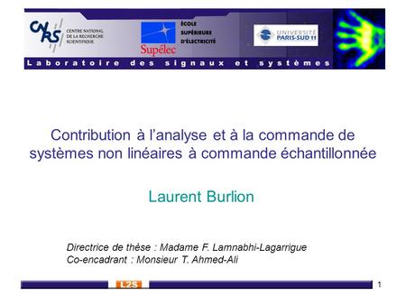 Laurent Burlion Directrice de thèse : Madame F. Lamnabhi-Lagarrigue