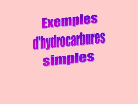 Exemples d'hydrocarbures simples.