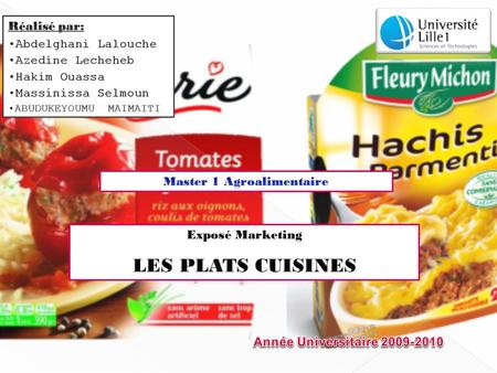 Master 1 Agroalimentaire