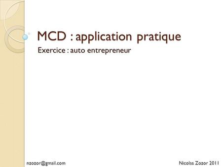 MCD : application pratique