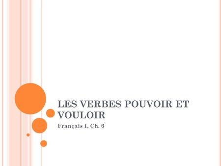 LES VERBES POUVOIR ET VOULOIR Français I, Ch. 6. POUVOIR: TO BE ABLE TO Pouvoir Je peux I am able to, I can Tu peux You are able to, You can Il/Elle/On.