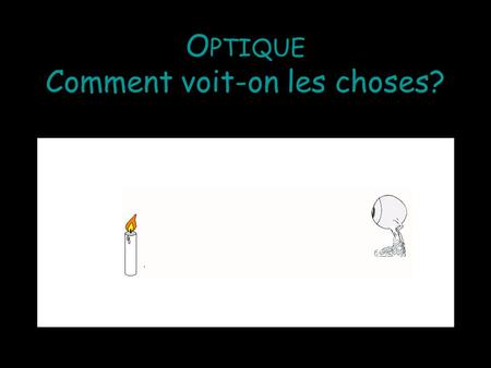 Optique Comment voit-on les choses?