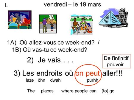 3) Les endroits où on peut aller!!! laze õhn dwah purhh The places where people can (to) go 1A) Où allez-vous ce week-end? / 1B) Où vas-tu ce week-end?