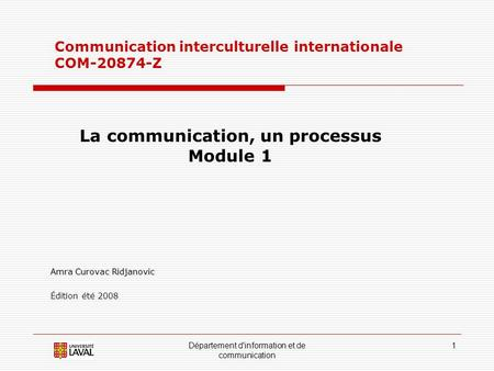 La communication, un processus
