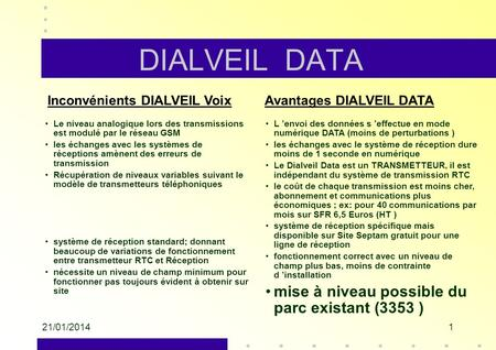 DIALVEIL DATA mise à niveau possible du parc existant (3353 )
