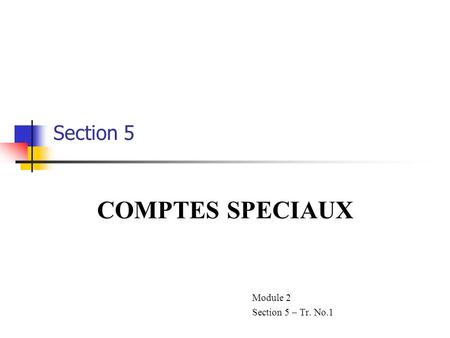 COMPTES SPECIAUX Module 2 Section 5 – Tr. No.1