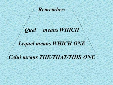 Remember: Quel means WHICH Lequel means WHICH ONE Celui means THE/THAT/THIS ONE.