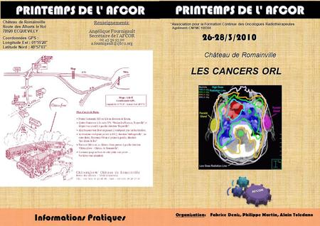 PRINTEMPS DE L' AFCOR PRINTEMPS DE L' AFCOR LES CANCERS ORL