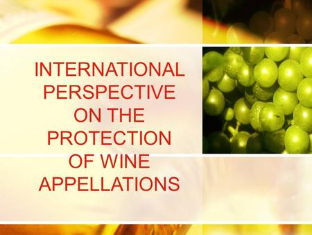 INTERNATIONAL PERSPECTIVE ON THE PROTECTION OF WINE APPELLATIONS.