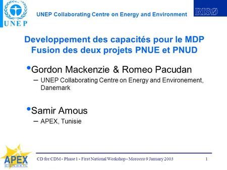 UNEP Collaborating Centre on Energy and Environment CD for CDM - Phase 1 - First National Workshop - Morocco 9 January 20031 Developpement des capacités.