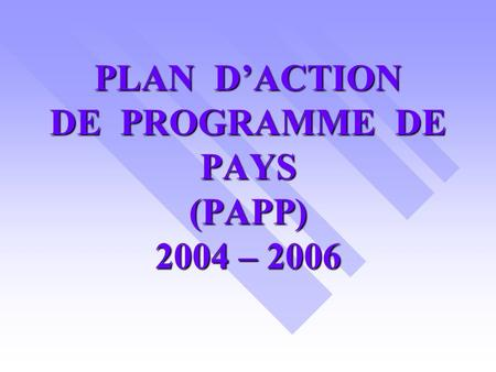 PLAN DACTION DE PROGRAMME DE PAYS (PAPP) 2004 – 2006.