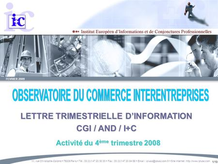 1/19 FEVRIER 2009 LETTRE TRIMESTRIELLE DINFORMATION CGI / AND / I+C 11, rue Christophe-Colomb 75008 Paris Tél.: 33 (0)1 47 20 30 33 Fax : 33 (0)1 47 20.