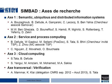 Institut Mines-Télécom SIMBAD Semantic Interoperability for Mobile, collaBorative and ADaptive applications Samir Tata, Institut Mines-Télécom Télécom.