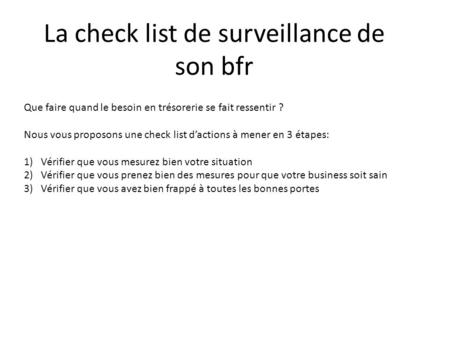 La check list de surveillance de son bfr
