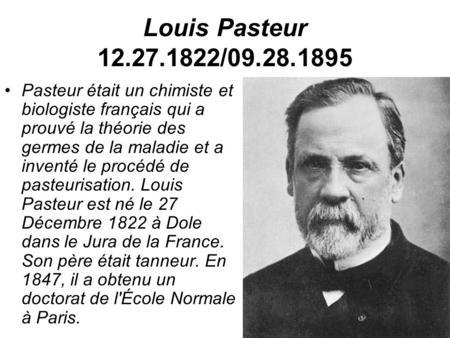Bien-aimé Louis Pasteur ppt video online télécharger KA77