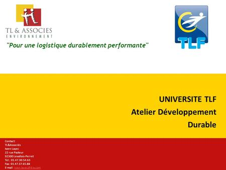 UNIVERSITE TLF Atelier Développement Durable