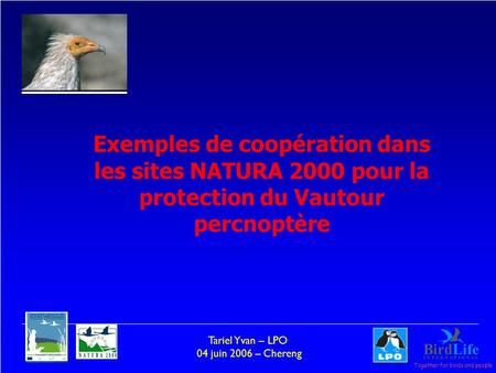 Together for birds and people Tariel Yvan – LPO 04 juin 2006 – Chereng Exemples de coopération dans les sites NATURA 2000 pour la protection du Vautour.